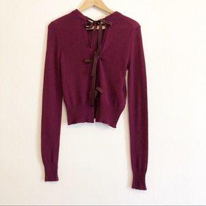 Prada Fuchsia Cashmere Tie Back Sweater
